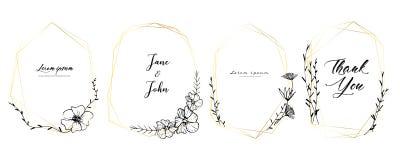 Set geometryczna rama, ręka rysująca kwitnie, Botaniczny skład, Dekoracyjny element dla ślubnej karty, zaproszenia ilustracji