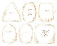 Set geometryczna rama, ręka rysująca kwitnie, Botaniczny skład, Dekoracyjny element dla ślubnej karty, zaproszenia ilustracja wektor