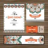 Set geometrycznego boho kolorowe ulotki Wektorowy dekoracyjny etniczny kartka z pozdrowieniami lub zaproszenia projekta tło Fotografia Stock