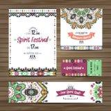 Set geometrycznego boho kolorowe ulotki Wektorowy dekoracyjny etniczny kartka z pozdrowieniami lub zaproszenia projekta tło Zdjęcie Royalty Free