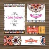 Set geometrycznego boho kolorowe ulotki Wektorowy dekoracyjny etniczny kartka z pozdrowieniami lub zaproszenia projekta tło Fotografia Royalty Free