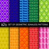 Set geometryczni bezszwowi wzory Obrazy Stock