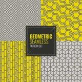 Set geometryczni bezszwowi wzory ustawia wektorową ilustrację Obrazy Royalty Free