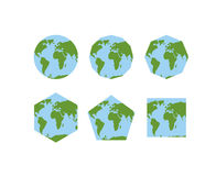 Set geometryczni kształty światowi atlanty Mapa planety ziemia Fotografia Stock