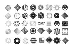 Set geometryczni kształty Modny modnisia tło, logotypy i Religia, filozofia, duchowość, okultyzmów symbole zdjęcie stock