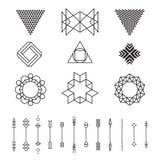 Set geometryczni kształty, wektorowa ilustracja, odizolowywający, kreskowy projekt, Fotografia Royalty Free