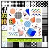 Set geometryczni retro Memphis stylu elementy i bezszwowy Zdjęcie Royalty Free