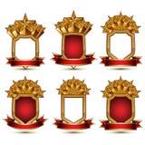 Set geometryczni wektorowi wspaniali złoci elementy odizolowywający na wh Obraz Royalty Free