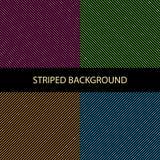 Set geometryczny pasiasty wzór z kolorowymi diagonalnymi równoległymi ciągłymi liniami na czarnym tle, neonowi kolory wektor royalty ilustracja