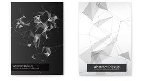 Set geometryczny plakat, ilustracja technologii komunikacja biznesowa Futurystyczni plexus kształty, abstrakcjonistyczny wektor ilustracji