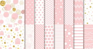 Set of sweet pink seamless pattern Pink dotted background collection Baby girl geometric ornamental template vector vector illustration