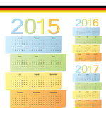 Set of German 2015, 2016, 2017 color vector calendars. Week starts from Monday Royalty Free Stock Images