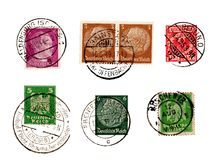 Set of German Reich stamps. Isolated in white background Royalty Free Stock Image