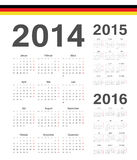 Set of german 2014, 2015, 2016 year vector calendars. Set of simple german 2014, 2015, 2016 year vector calendars. Week starts from Mondays Stock Images
