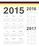 Set of German 2015, 2016, 2017 year vector calendars. Set of simple German 2015, 2016, 2017 year vector calendars. Week starts from Mondays stock illustration