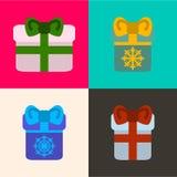 Set Geschenke Vektorikonen in der flachen Art für Weihnachten Vecto Stockfoto