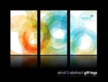 Set Geschenkkarten mit Kreisen. Stockfoto