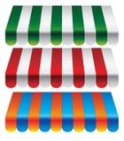 Set gestreifte Markisen für Speicher Stockbilder