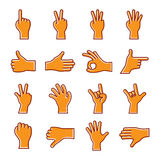 Set of gesture hand icons. Vector Illustration of hand on white background Stock Photos