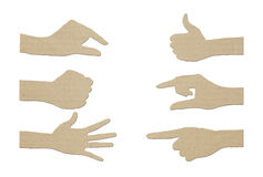 Set of gesture Hand paper Stock Photography