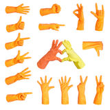 Set of gestures glove. Set of gestures hand in glove, isolated Royalty Free Stock Photo