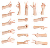 Set of gestures hand. Set of gestures woman hand, isolated Stock Image