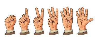Set of gestures of hands counting from zero to five. Male Hand sign. Vector flat illustration  on white background Stock Image