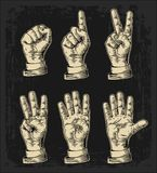 Set of gestures of hands counting from zero to five. Male Hand sign. Vector vintage engraved illustration isolated Stock Photography