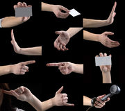 Set of gestures, hands, fingers. Sign language, the international language of communication, a person shows the different gestures, the importance of gesture is Royalty Free Stock Photos