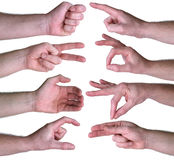 Set of gestures hands over white background Royalty Free Stock Images