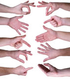 Set of gestures hands over white background. On a white background Stock Photos