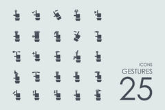Set of gestures icons. Gestures vector set of modern simple icons Stock Photos