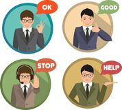 Set of gestures shows business man Royalty Free Stock Image