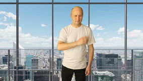 Set gestures tourism ad. White man hand gestures rating calendar stars choice touch thumbs up price. Office large window. City skyline background. Yes no head stock video footage