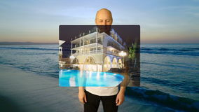 Set gestures tourism ad. White man hand gestures rating calendar stars choice touch thumbs up price. Seashore sunset. Background. Yes no head nod. Choose dates stock video