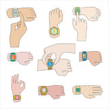 Set of gestures for watch. Stock Photography