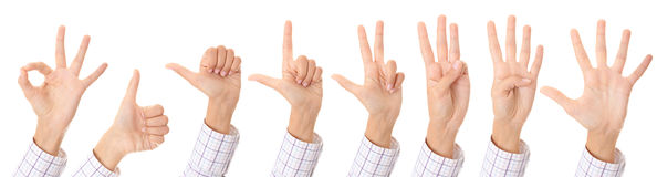 Set of gesturing hands Stock Photos