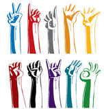 Set of gesturing hands. Stock Photography