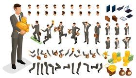 Set gestykuluje ręki mężczyzna, nogi pozycja tworzyć 3D charakteru inwestora biznesmen w isometry ilustracji