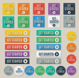Set of Get Started call to action web buttons. Set of flat web buttons with call to action text that says get started.  Buttons feature popular color palette for Stock Photo