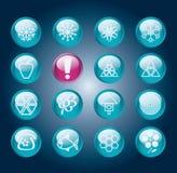 Set getrennte blaue glänzende runde Tasten Stockfoto