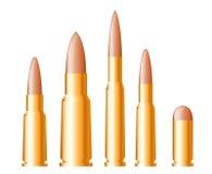 Set Gewehrkugeln und -munition Lizenzfreies Stockbild