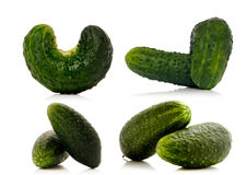 Set of gherkins over white Stock Photos