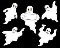 Set of ghosts. On a black background. Vector illustration Stock Image