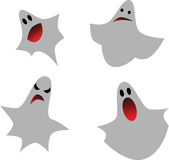 Set of ghosts. For design isolated on white background, vector illustration Stock Photos