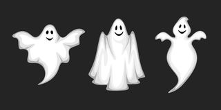 Set of ghosts  on black. Vector illustration. Royalty Free Stock Photography