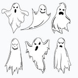 A set of ghosts for Halloween. A collection of mystical ghosts. Stylized evil spirits. Black and white vector. A set of ghosts for Halloween. A collection of Royalty Free Stock Photos