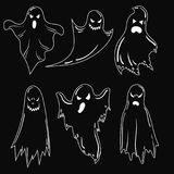 A set of ghosts for Halloween. A collection of mystical ghosts. Stylized evil spirits. Black and white vector. A set of ghosts for Halloween. A collection of Royalty Free Stock Photo