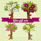 Set of gift bouquets with calla lilies Stock Photography