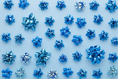 Set of gift bows on blue Stock Image